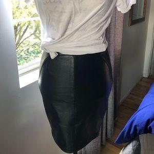Kate Moss x Top Shop Black Leather Pencil Skirt